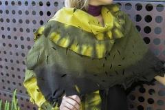 Sihbori Shawl, 2007, wool, pierced, dyed, fulled.