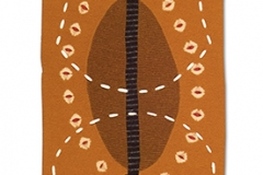 "Chart, 2005, 18""x53"", wool, pierced, pieced, dyed, stitched, fulled."