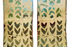 """Layers of Meaning"", 2007, 87""x36"" each panel, wool, dyed, pieced, stitched."