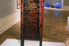 """My Fathers House"" 1994, 20""x12""x70"" , wool, pieced, wood."